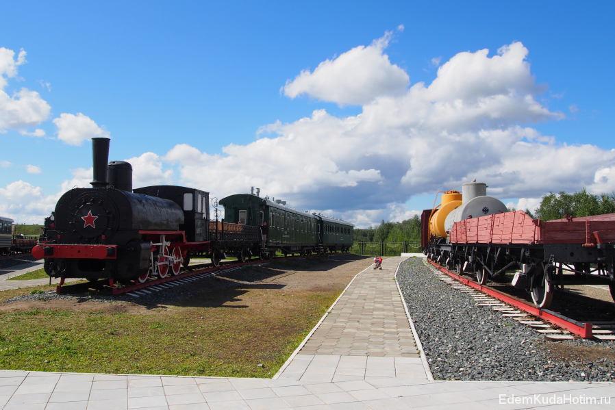Одна из аллей музея паровозов
