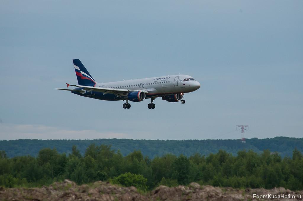 А320 Аэрофлота идет на посадку