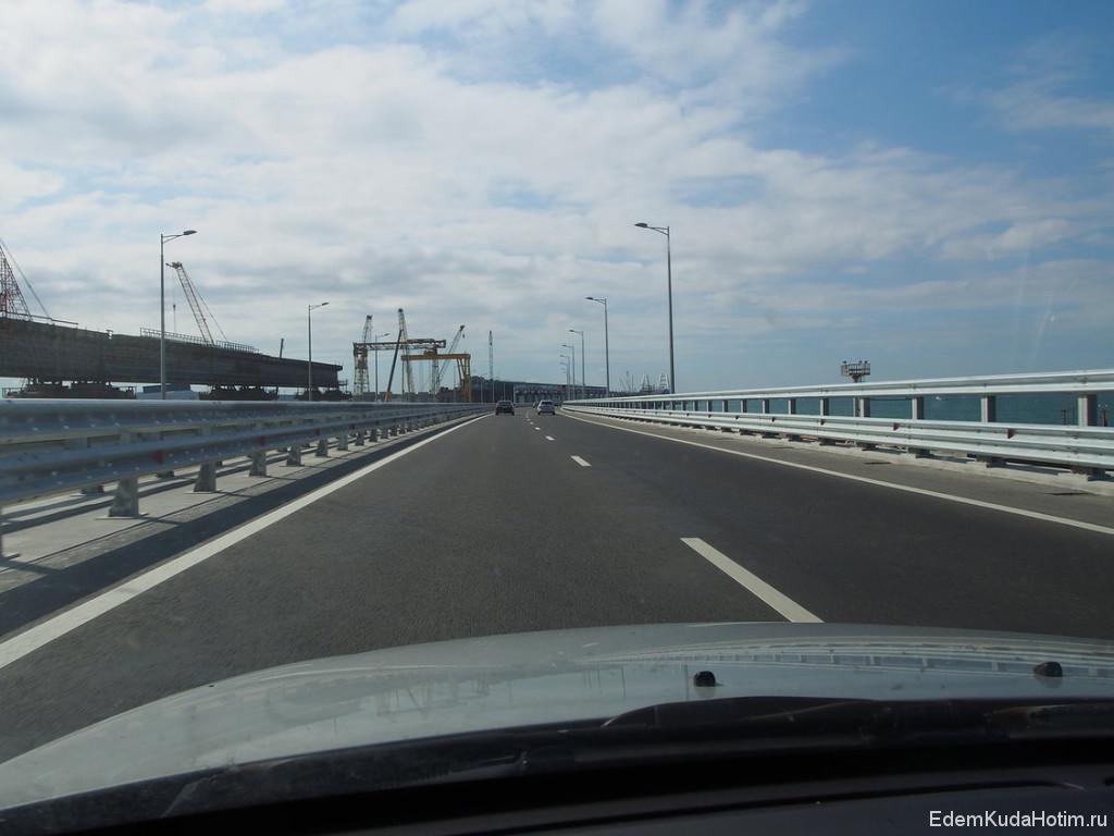 Приближаемся к мосту. Слева - строящийся железнодорожный мост..